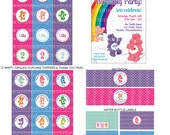 DIY -  Printable: Customized Care Bears Party Set -  13 items (invitation, party circles, water bottle labels, banner and more)