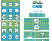 DIY-Printable: Personalized Birthday Boy Party Set - 15 items (invitation, party circles, water bottle labels, banner & more)