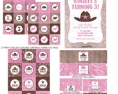 DIY -  Printable: Cowgirl - Barn Party Set -  13 items (invitation, party circles, water bottle labels, banner and more)