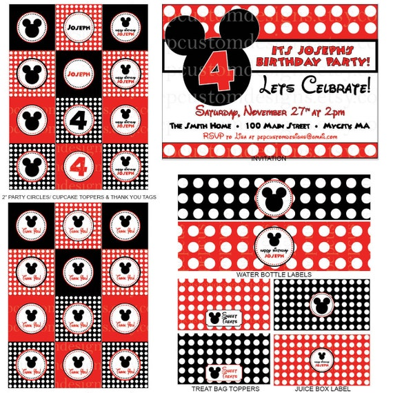 DIY-Printable: Personalized Mickey Mouse Polka Dot Party Set - 13 items (invitation, party circles, water bottle labels, banner & more)