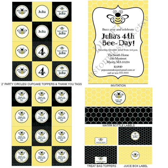 DIY -  Printable: Personalized Bumble Bee Birthday Party Set -  13 items (invitation, party circles, water bottle labels, banner and more)