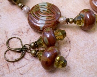 Porcelain Necklace Beaded Necklace Brown Olive Porcelain Jewelry Beaded Jewelry