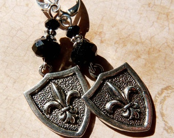 Fleur de Lis Earrings Silver Shield Fleur de lis Jewelry Silver Jewelry Beaded Jewelry Beaded Earrings Metal Earrings