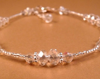 Crystal Ankle Bracelet Crystal Anklet Beaded Anklet Beaded Jewelry Crystal Jewelry Silver Jewelry