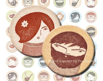 Father's Day Family Faces 1 inch sepia blue green digital circles. Mother's  Day Bottle cap graphic printable for scrapbook, cards, buttons.