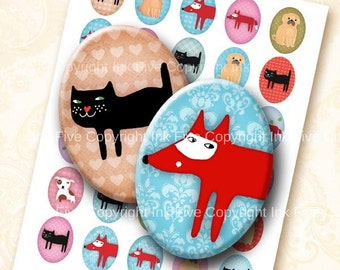 30x40 mm ovals Funny Zoo. Animals Collage sheet for cabochons, cameos, pendants.  Printable oval images for download