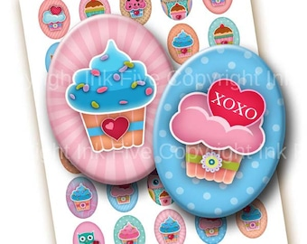 Digital collage sheet Cupcakes with Love. 30x40 mm ovals for cabochons, cameos, pendants. Printable cute Valentines cupcake download images