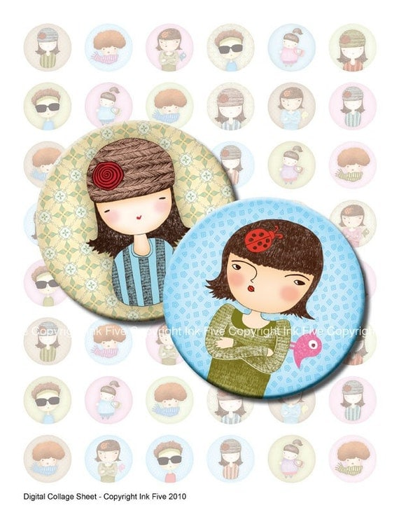 1 inch circles bottlecaps Little Ladies printable images. Digital collage sheet for cupcake toppers, party decors, magnets, bottle caps