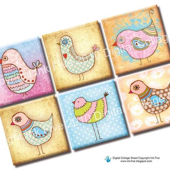 Bird Party 1x1 inch squares printable images. Digital Collage Sheet for jmagnets, scrapbooks, pendants, necklaces. Digital download