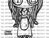 INSTANT DOWNLOAD Zombie Rag Doll Digital Stamp Image