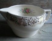 Vintage Ceramic Off-White Creamer with Gold and Multicolor Floral Design - Unmarked - Vintage