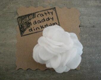White Scrappy Felt Flower Pin Brooch - Snowball - Handmade