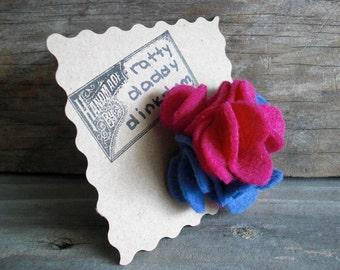 Pink & Blue Scrappy Felt Flower Pin Brooch - Strawberry Periwinkle - Handmade