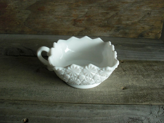 Milk Glass Square Dish with Handle (Finger Loop) - Unmarked - Vintage