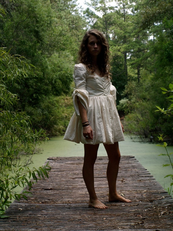 organic psych- folk renaissance mini dress with pockets custom tailored to your measurements