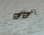 Soft green glass pearls and Vintaj brass drop earrings