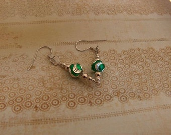 Looks like a celebration - green enameled sterling silver earrings - party, holiday