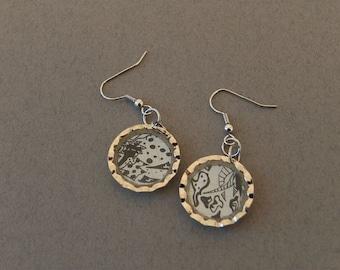 Amoeba - original black and white drawings by Natalie Jarrett - resin earrings