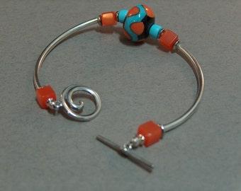 Orange and Aqua - lampwork bead with sterling silver tubes bracelet - under 30