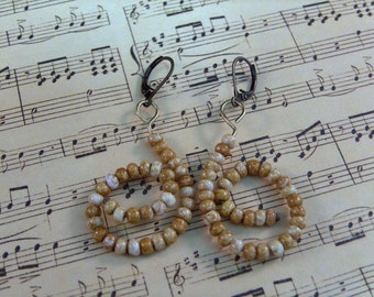 Swirls - amber/gold glass and brass earrings