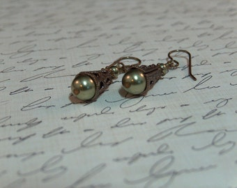 Soft green glass pearls and Vintaj brass drop earrings