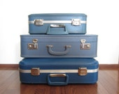 Vintage Suitcase Instant Collection Home Decor Storage -Ombre Blue - Mismatched Stack - FREE U.S. SHIPPING