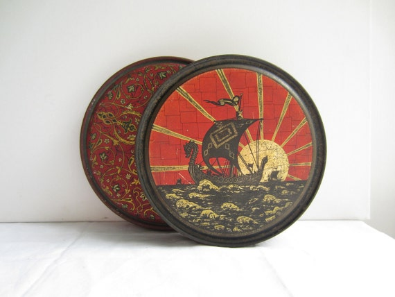Vintage Round Canco Tins - Queen Anne Candy Co. - Two Stacking Red, Black, Gold Tins