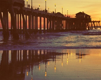 Vintage Sunset at the Beach - Huntington Beach California suset at the pier 8x12 photo