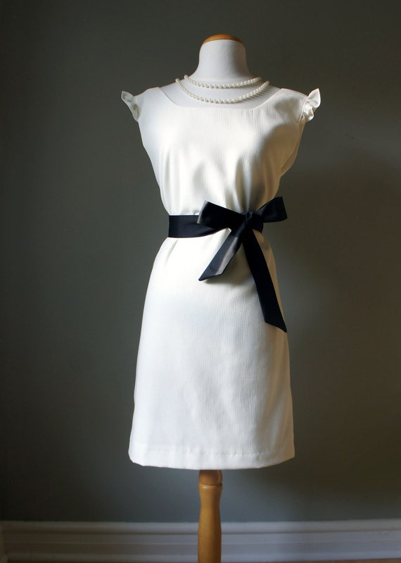 Classic Audrey Hepburn Pull Over Dress- Womans White Dress with Black Bow Belt - Elegant and Sophisticated Dress