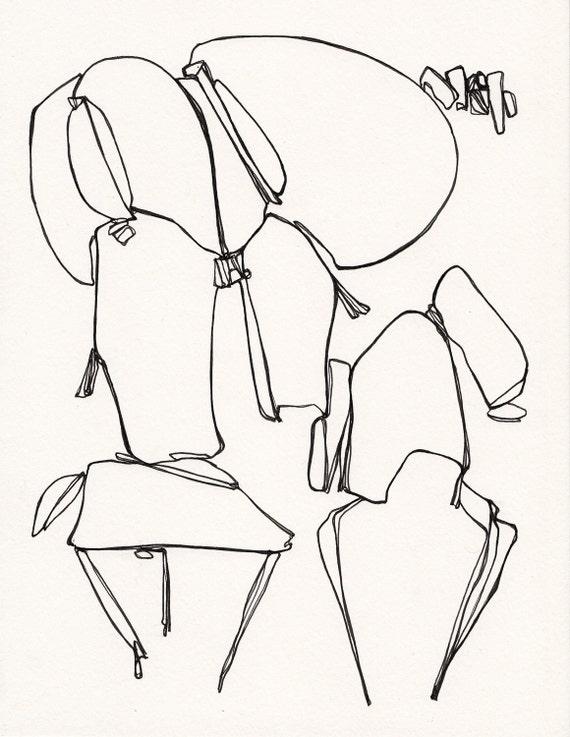 "Dog Ears - Original Ink Drawing - 8.5"" x 11"""