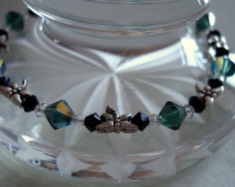 Dragonfly and Crystal Bracelet - Silver Dragonflies with Green and Black Crystals