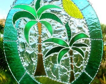 Stained Glass Suncatcher, Tropical Coconut Tree, Stained Glass Sun Catcher, Tropical Decor Suncatcher, Glass Art, Glass Suncatchers,  9539