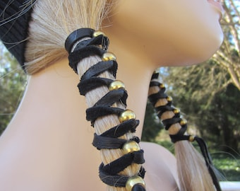 BOHO Black Leather Headband Hair Wrap Ponytail Holder with Antique Brass Gold Beads Z106