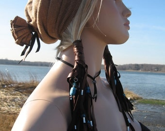 Leather Ponytail Holder Fringe Hair Wrap Beaded Extensions, Brown Leather Fringe BOHO Hair Jewelry
