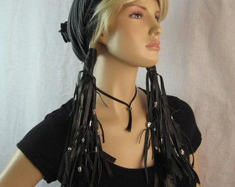 BOHO Rocker Clothing Ponytail Hair Extensions Skull Beads, Biker Black Leather Pony tail Holder Hair Jewelry
