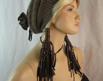 Leather Hair Wraps Bohemian Clothing Hair Jewelry Extensions,  Fringe Beaded  Leather Ponytail Holder Ties
