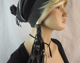 Goth Black Leather Ponytail Holder  Hair Wrap Extensions, BOHO Hair Jewelry