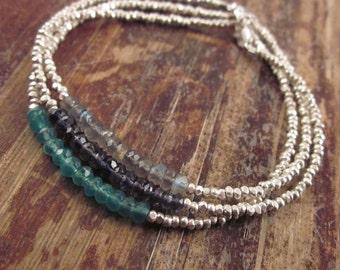 Boho Bracelet Beaded Bracelets Labradorite Gemstone Womens Teen Gift Jewelry Bead Bracelet Iolite Green Onyx Spectrolite Hill Tribe Silver