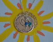 Moms Necklace - Sterling Silver  - Personalized with Two Birthstones - Special Saying, Quotes, Song Lyrics, Kids Names, Mom's