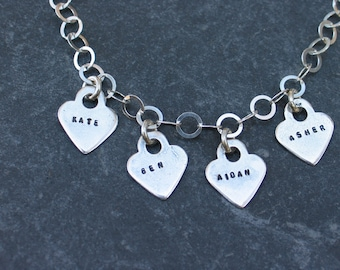 Charm Necklace - Personalized Hearts- Kids Names - Nana / Mothers Necklace -Hand-Stamped -Sterling Silver - Wife Gift, Birthday, Mothers Day