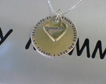 Personalized Disc & Heart Charm -Sterling Silver -English or Hebrew -Stamped Personal Saying -Birthday, Sweet 16- Mom, Sister, Best Friend