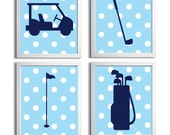 Golf Sports Nursery Baby Girl Boy Navy Blue Polka Dots Prep more colors available set of 4 each 11x14