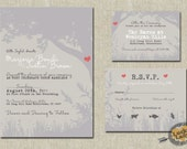 Customized PDF file: Romantic Carved Initials Tree Invitation Set by Luckyladypaper - DIY printing