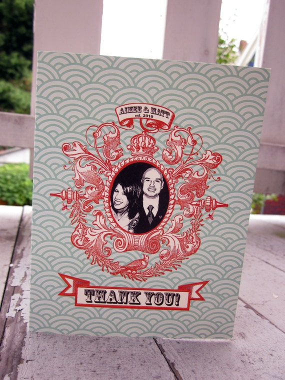 Custom Vintage Ornate Frame Wedding Photo Booth Thank You Card by Luckyladypaper - customized DIGITAL PROOF PURCHASE