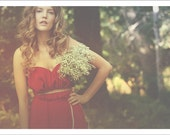 Romantic draped strapless wedding dress