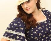 RESERVED for christinawillis Vintage Laura Ashley Navy Blue Prairie maxi dress