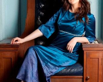 Vintage turquoise silk empire line dress