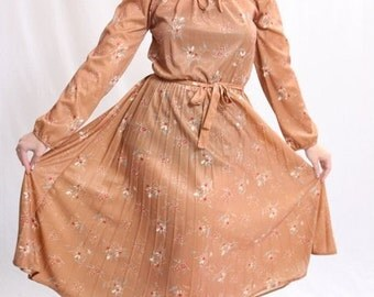 Vintage 1970s Brown Blue Red White Pleated Dress
