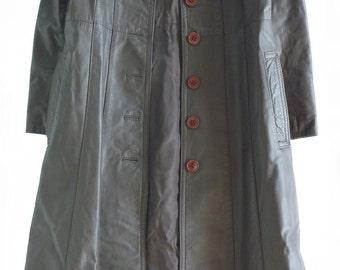 Vintage 1970's brown leather ladies full length coat made in Spain