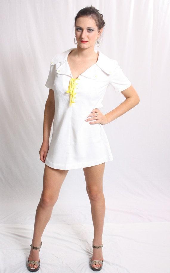 Vintage 1960s White Mini Dress